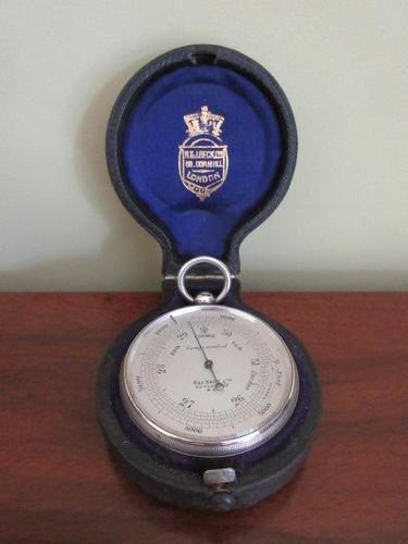 Superb Antique Silver Pocket Barometer & Case (1 of 8)
