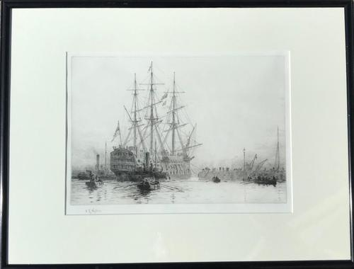 HMS Victory Entering Dry Dock 1922 - Etching Signed W.L.Wyllie R A (1 of 2)