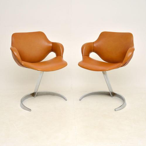 Pair of French Leather & Chrome Scimitar Chairs by Boris Tabacoff (1 of 10)