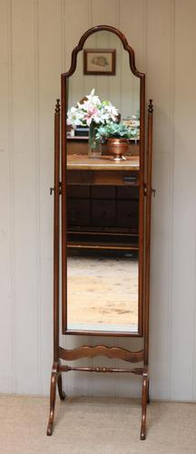 Queen Anne Style Mahogany Cheval Mirror c.1920 (1 of 10)