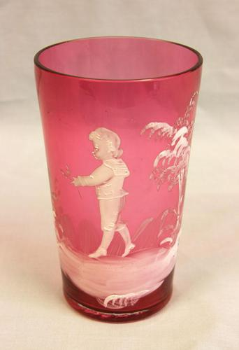 Antique Mary Gregory Cranberry Glass Beaker (1 of 5)