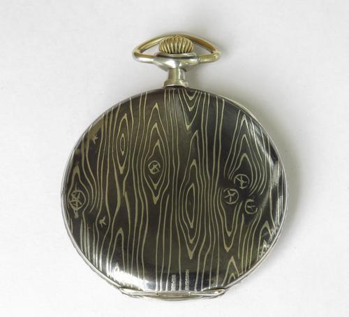 Antique Leonidas Niello Wood Grain Pocket Watch (1 of 5)