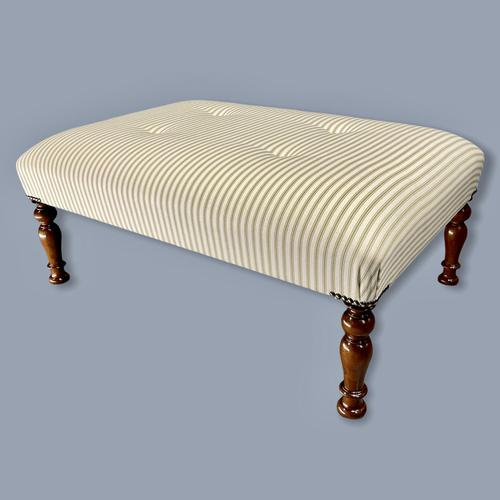 Buttoned Sage Green Ticking Stripe Footstool (1 of 6)