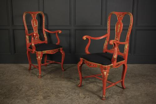Pair of Red Chinoiserie Armchairs (1 of 8)
