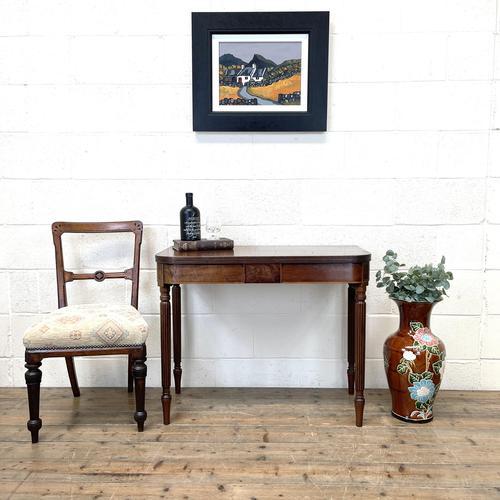 19th Century Mahogany & Boxwood Fold Over Table (1 of 10)