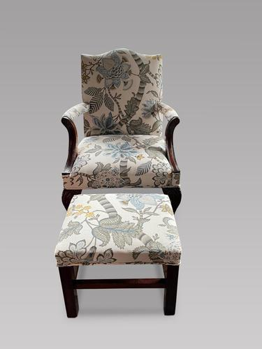 Mahogany Gainsborough Style Armchair with Cabriole Legs to Ball & Claw Feet & Foot Stool (1 of 3)