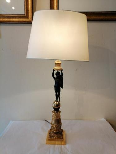 Fine Quality French Brass & Bronze Table Lamp (1 of 6)