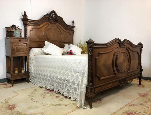 Antique French Stunning Huge Oak Bed Frame & Pot Cupboard (1 of 16)