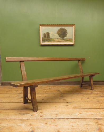 Antique Elm & Pine Sunday School Bench, Rustic Hall Seat (1 of 14)