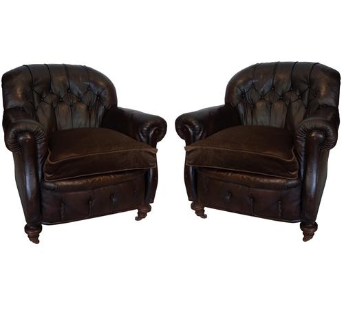 Pair of Leather Buttoned Club Chairs (1 of 1)