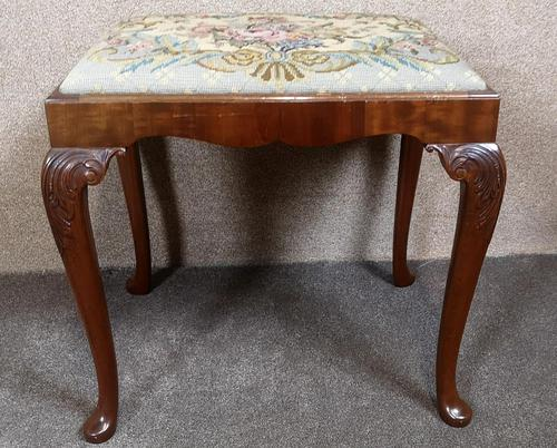 Carved Mahogany Cabriole Leg Stool In The Queen Anne Style (1 of 9)
