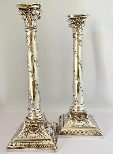 Handsome Pair of Silver Plated Candlesticks C1900 (1 of 9)