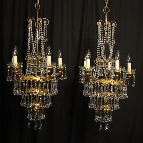 Italian Florentine Pair Of 5 Light Chandeliers (1 of 7)