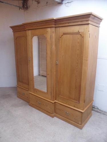 Rare Victorian 3 Door Antique Pine Waxed 5 Piece Triple Wardrobe (1 of 13)