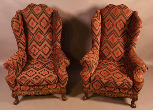 Very Good Pair of Wing Armchairs in the style of George II (1 of 15)