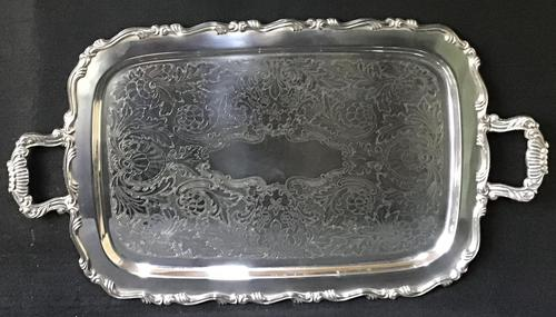 Large Silver Plated 2 Handle Butlers Tray (1 of 5)