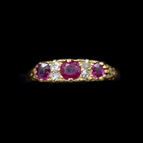 Antique Ruby & Old Cut Diamond 18ct 18K Yellow Gold Scroll Ring (1 of 9)