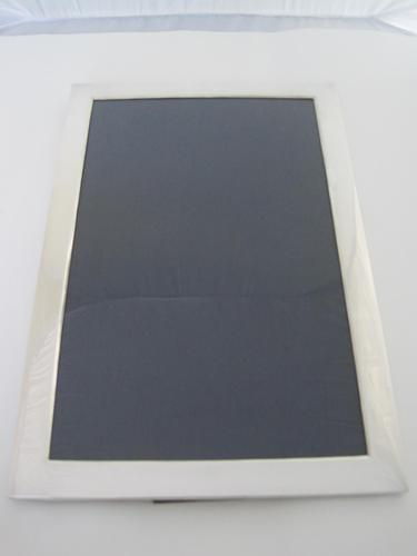 Large Rectangular Silver Photo Frame with Oak Easel Back (1 of 8)