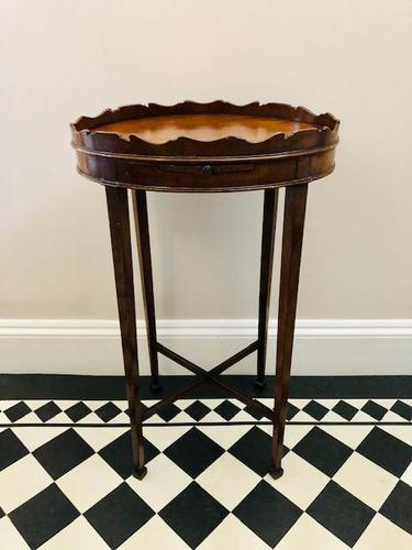 Small Antique  Wine or Candle Table With Galleried Top & Pull Out Shelf (1 of 13)