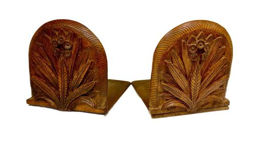 Antique Pair of Carved Oak Bookends c.1905 (1 of 5)
