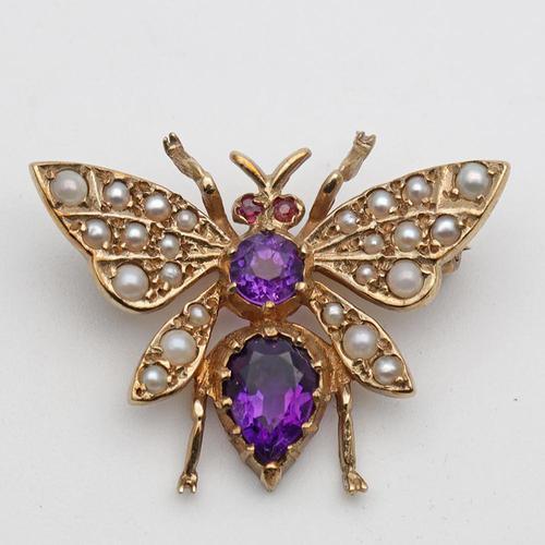 Vintage Gold Amethyst & Seed Pearl Novelty Brooch (1 of 5)