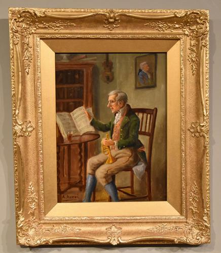 """Oil Painting by Alexander Austen """"The Trumpet Player"""" (1 of 5)"""