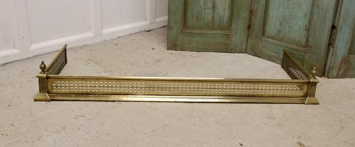 Long Victorian Pierced Brass Fender (1 of 5)