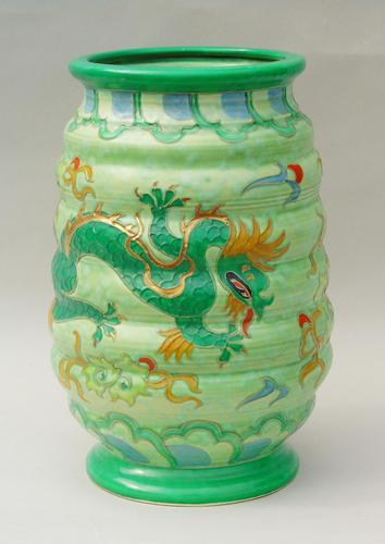 Charlotte Rhead Tube Lined Vase Manchu Dragon Design (1 of 9)