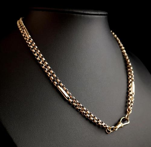 Antique 9ct gold muff chain, Victorian necklace (1 of 17)