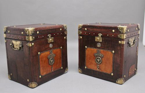 Pair of Early 20th Century ex Army Leather Bound ex Army Trunks (1 of 10)