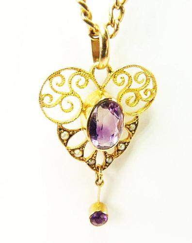 Antique Victorian Gold Amethyst & Seed Pearl Necklace (1 of 8)