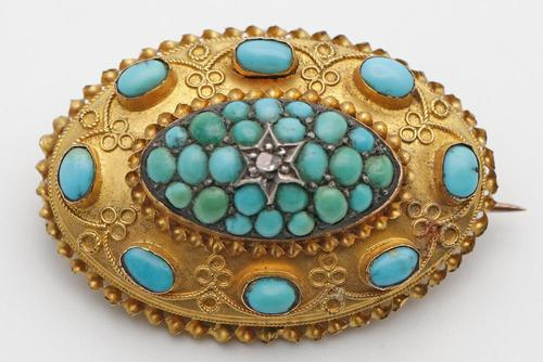 Victorian 15ct Gold Brooch with Cannetille Detail, Turquoise & Diamond (1 of 3)