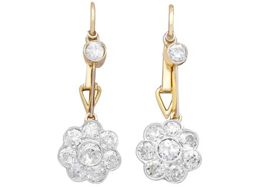 2.75ct Diamond, 15ct Yellow Gold & Platinum Drop Earrings - Antique c.1910 (1 of 12)