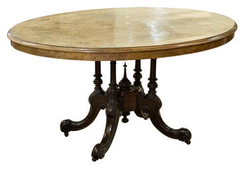 Oval Inlaid Walnut Loo Table on Quadruple Base (1 of 8)
