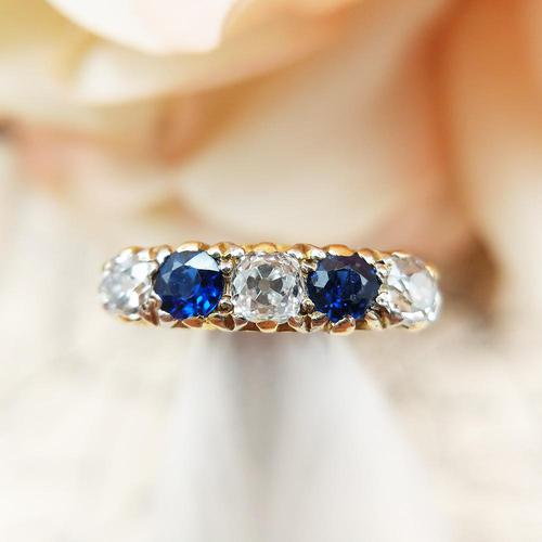 Antique 18ct Yellow Gold Diamond & Sapphire Five Stone Ring, Victorian (1 of 10)