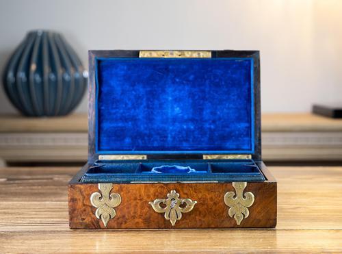 Burr Walnut & Brass Jewellery Box 1860 (1 of 14)