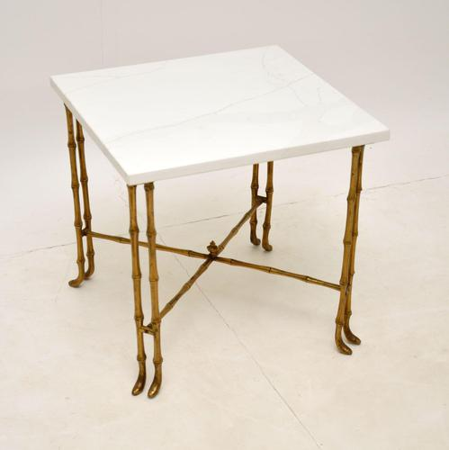 Vintage Brass & White Quartz Side / Coffee Table (1 of 6)