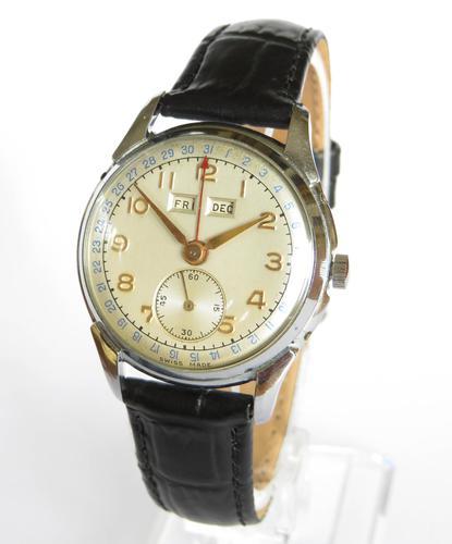 Gents 1950s Triple Date Wristwatch (1 of 5)