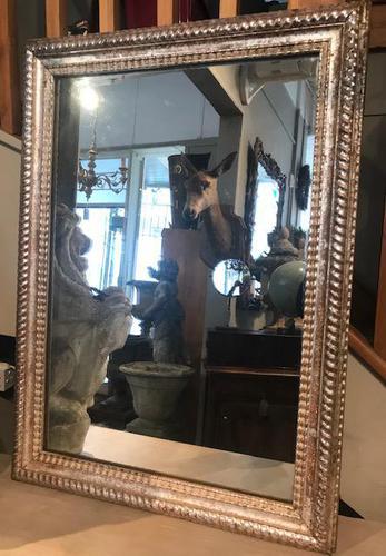 19th Century French Restauration Period Silver Ripple Edge Mirror (1 of 4)