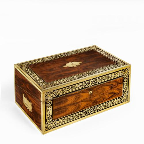 Superb William IV Brass Inlaid Kingwood Writing Box by Edwards (1 of 17)