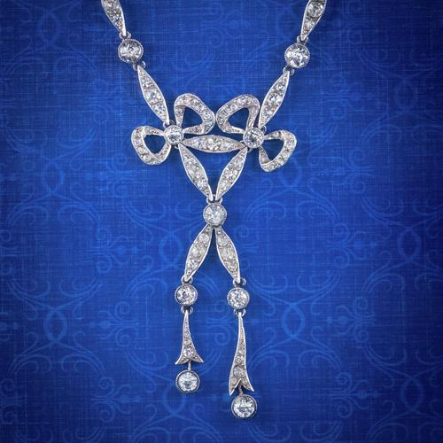Antique Edwardian Paste Lavaliere Bow Necklace Silver c.1905 (1 of 8)