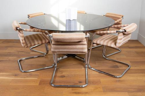 Pieff Glass Chrome Dining Table & 6 Chairs Late 1970s (1 of 14)