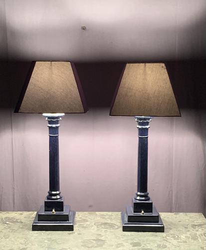 Tall Impressive Pair of French Ceramic Table Lamps (1 of 6)