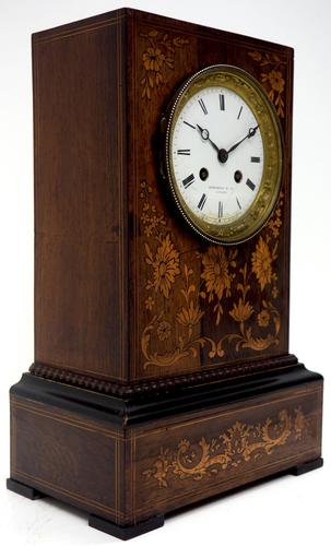 Wonderful Offices French Empire Mantel Clock Carved Floral Inlay (1 of 10)