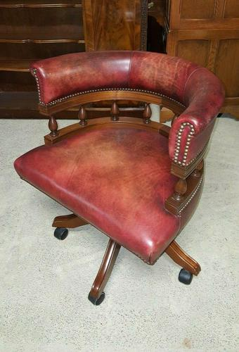 Antique Design Mahogany Red Leather Captains Chair (1 of 5)