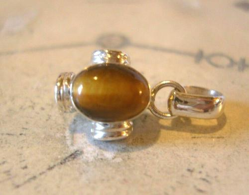 Vintage Pocket Watch Chain Fob 1970s Silver & Tigers Eye Medieval Revival Fob (1 of 10)