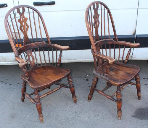 1940's Pair of Oak Country Farmhouse Chairs (1 of 5)