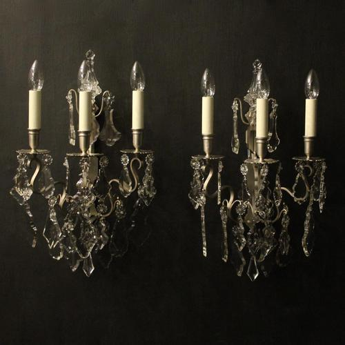 French Pair of Silver Gilded Wall Sconces (1 of 10)