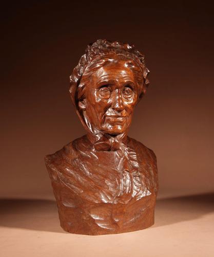 Beautiful Expressive Carved Wooden Bust of Woman, Signed B. Tuerlinckx = Boudewijn Tuerlinckx (1 of 11)