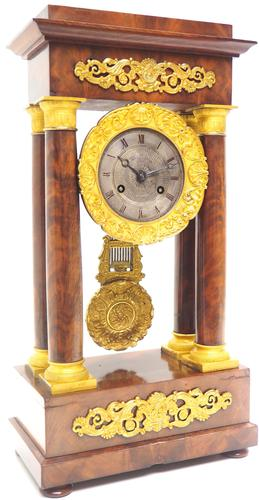 Fine Antique Flame Mahogany Mantel Clock French Striking Portico Mantle Clock (1 of 13)